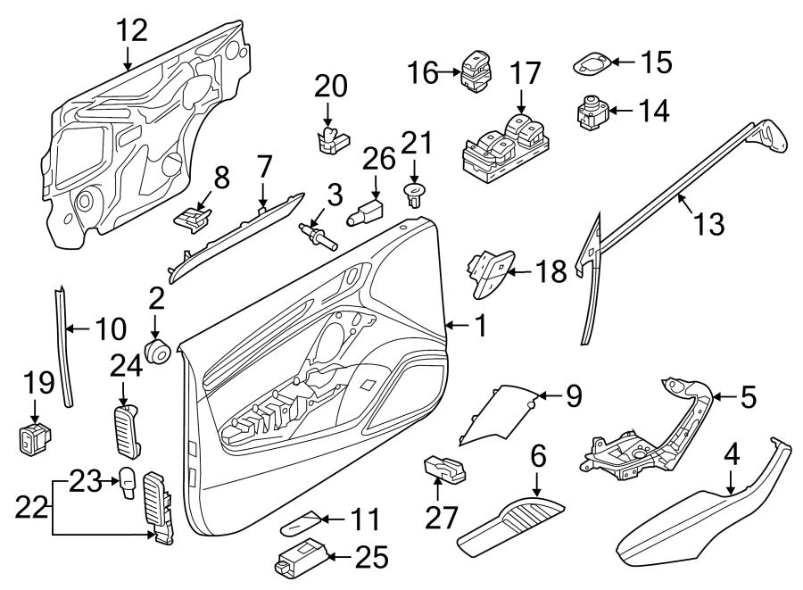 Audi A3 Door Trim Molding (Front). Convertible, aluminum