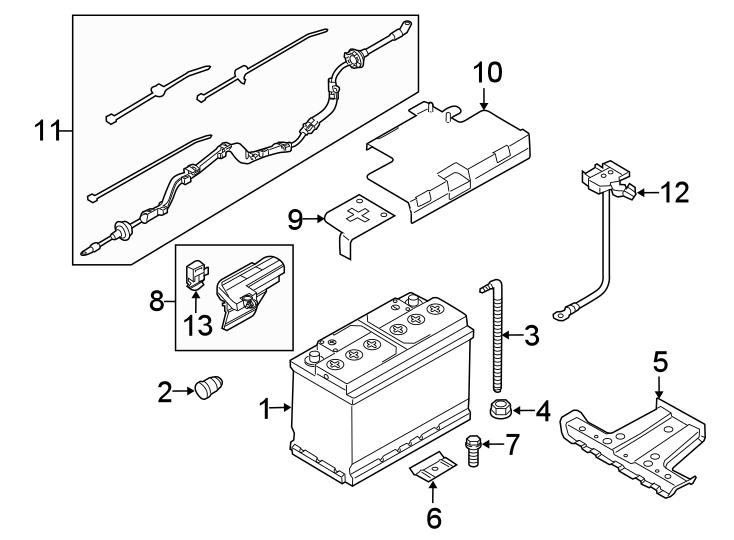 Audi A4 Battery tray. Bracket. 2017-18. Rear. 2017-18