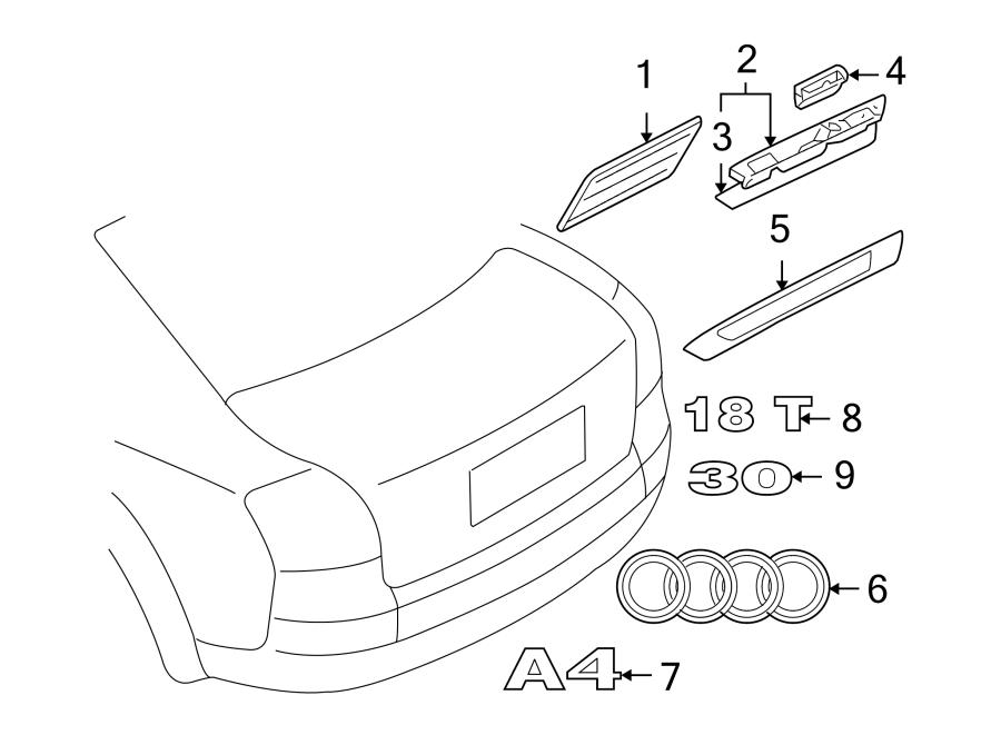 Audi A3 Deck Lid Emblem (Front). 1.8T. CONVERTIBLE, 1.8T