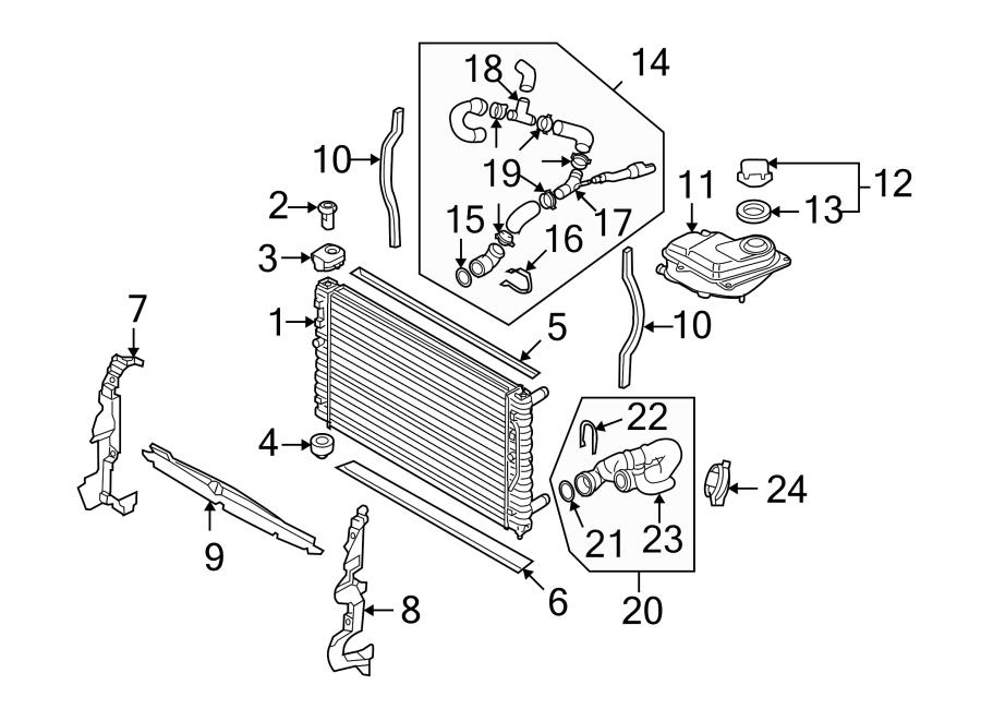 Audi S4 Radiator Air Seal. LITER, MAIN, COMPONENTS