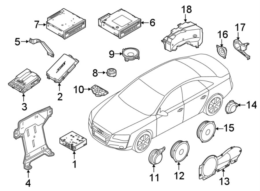 2017 Audi S7 Speaker (Front). Lower, w/Bose audio. Olufsen