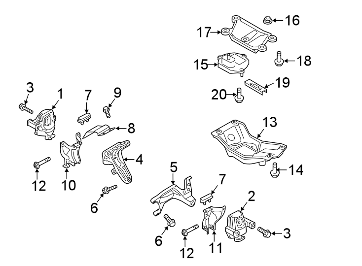 2015 Audi Automatic Transmission Mount Bracket