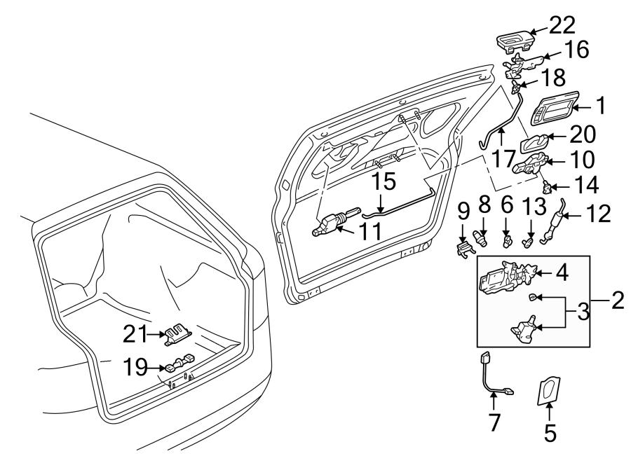 2003 Audi A6 Liftgate Latch (Upper). A4. A6/S6; All