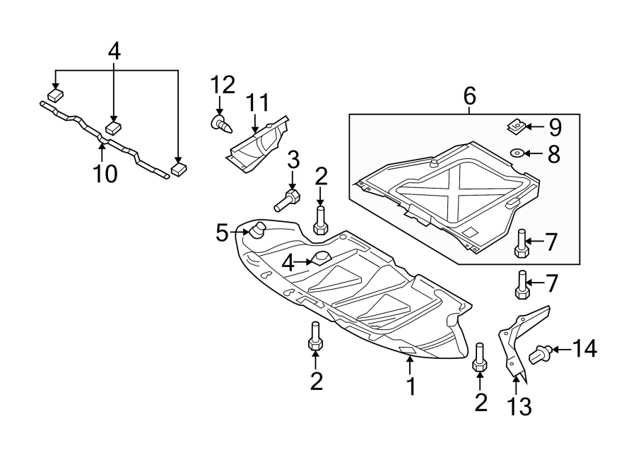 Audi A6 Radiator Support Splash Shield (Front, Lower). A6