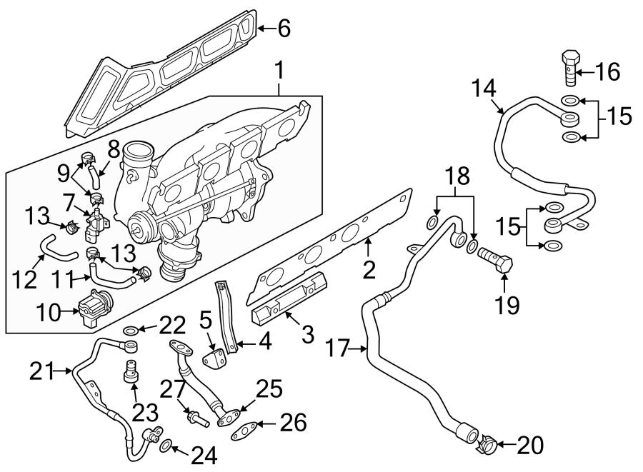Audi A6 Exhaust manifold gasket. Turbocharger gasket. Audi