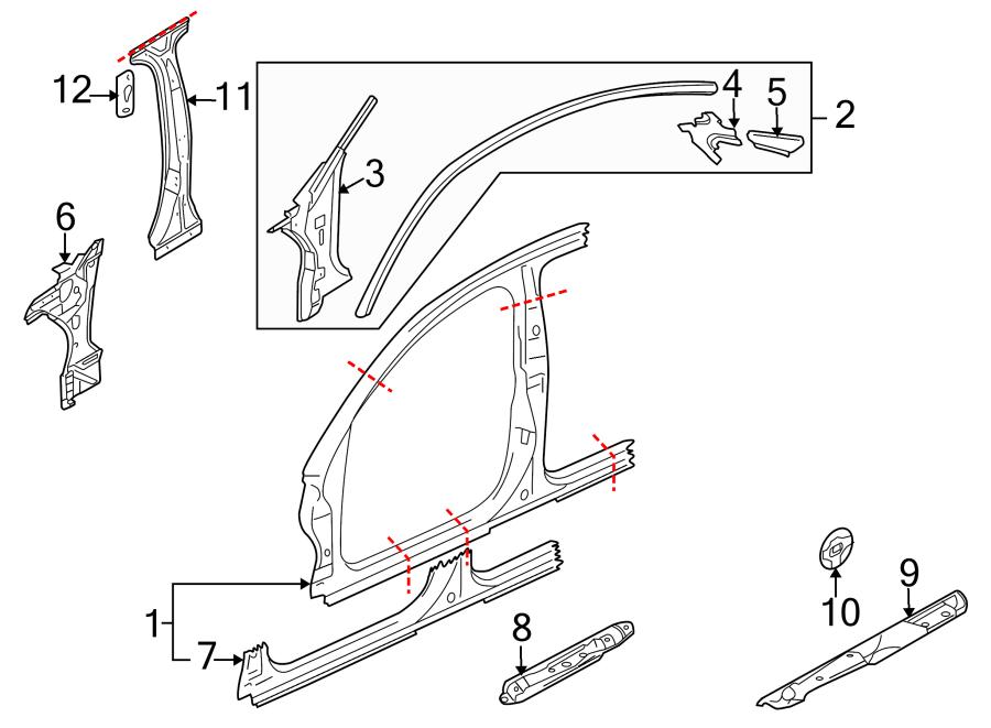 2009 Audi A8 Body A-Pillar Reinforcement (Front, Upper