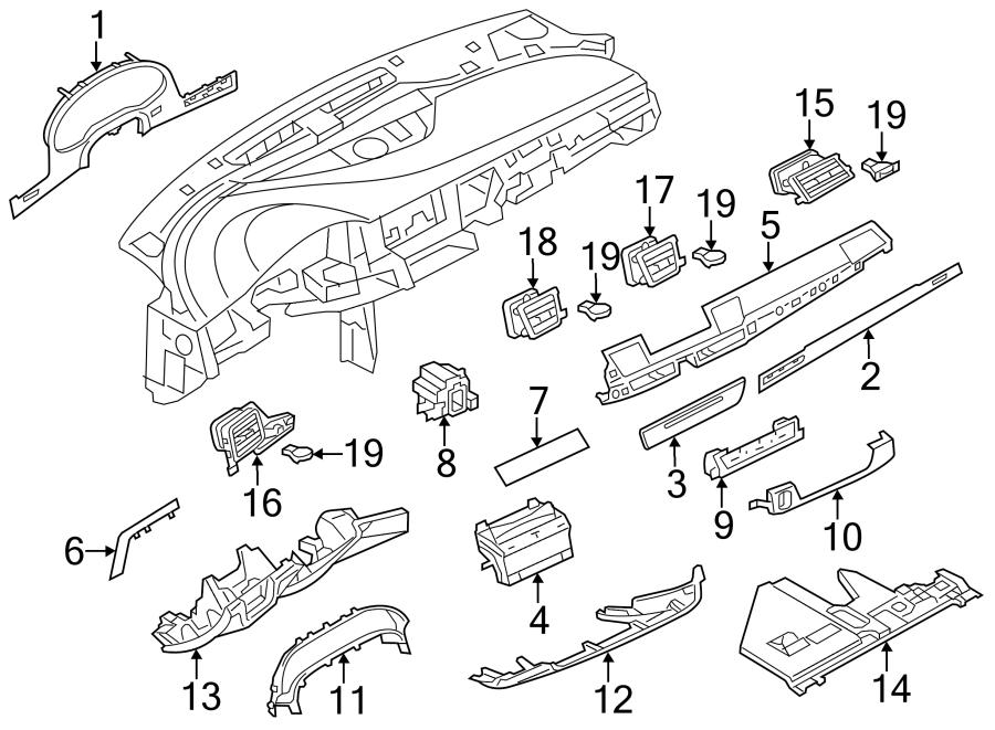 Audi A8 Air. Vent. Outlet. Deflector. Grille. Center