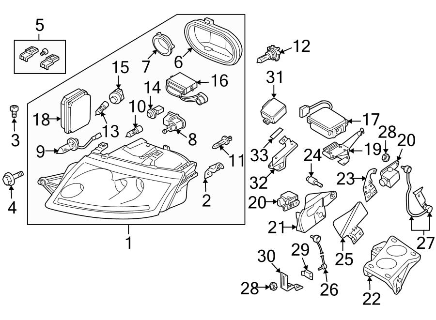 2000 Audi TT Base Coupe 1.8L M/T Quattro Headlight Socket
