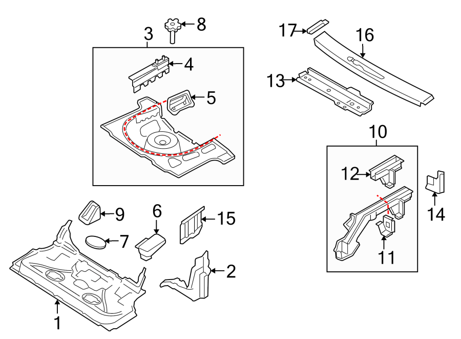 2003 Audi TT Floor. Pan. FWD. Sheet metal used for the