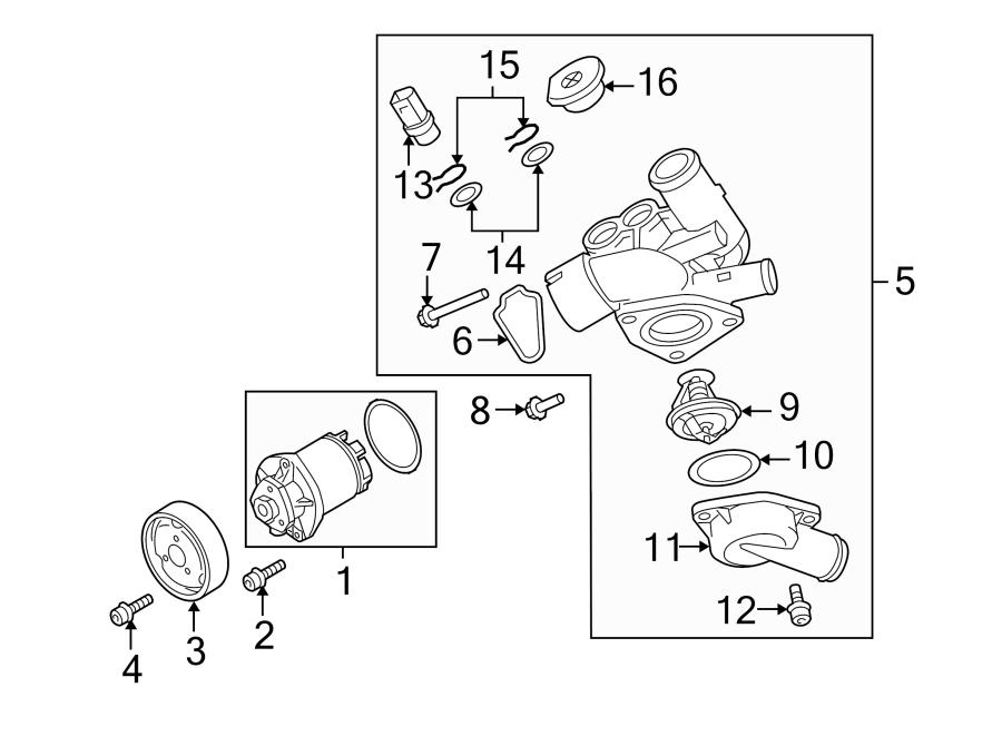 2008 Audi TT Engine Coolant Thermostat Kit. 3.2 LITER