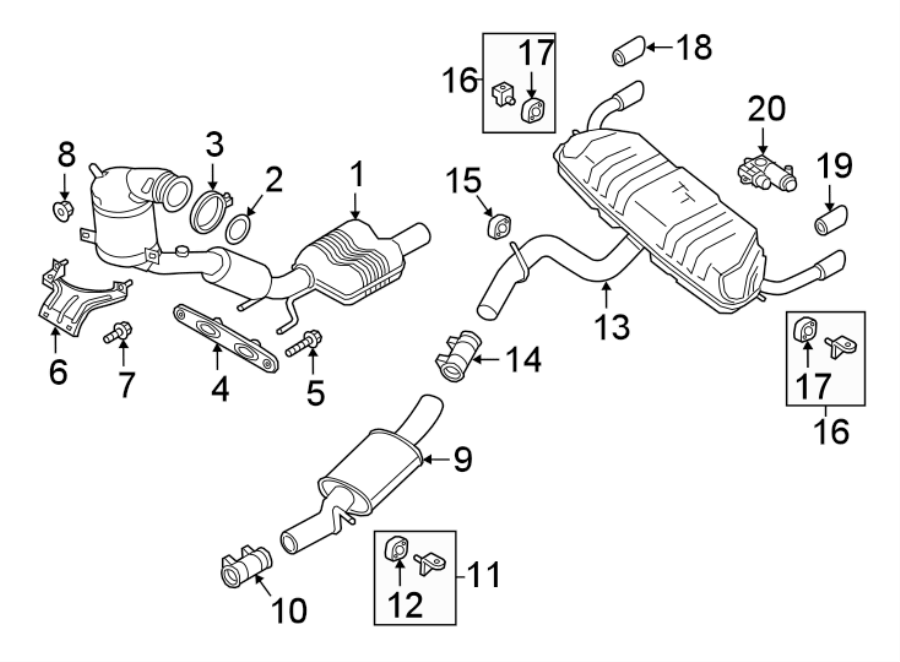 Audi TT Bracket. Converter. Pipe. Support. Amplifier