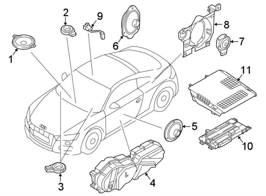 Audi TT Radio Amplifier Bracket. SPEAKERS, CONVERTIBLE