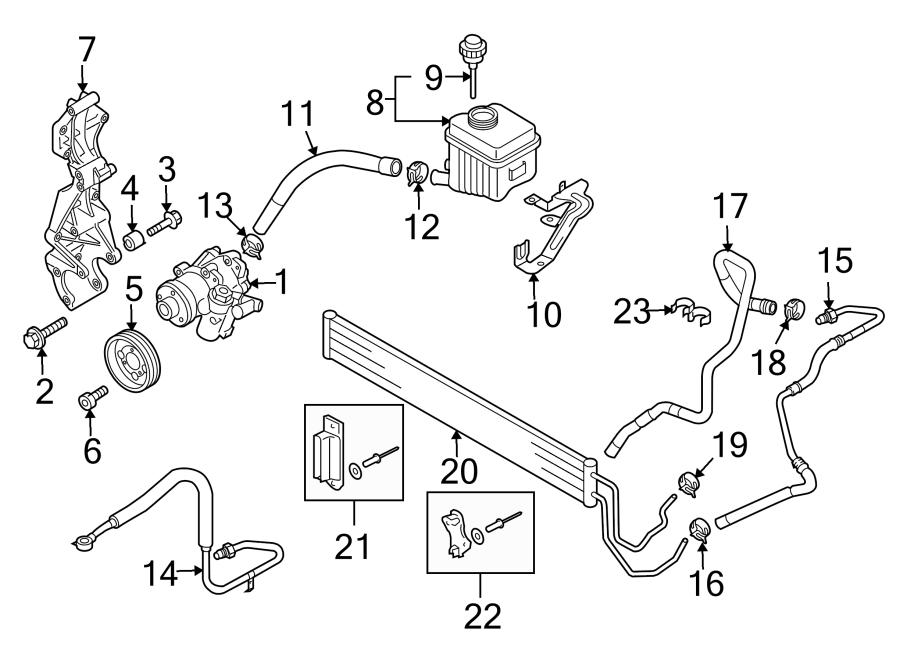 Audi Q7 Power Steering Pressure Hose. Pump, GEAR, HOSES