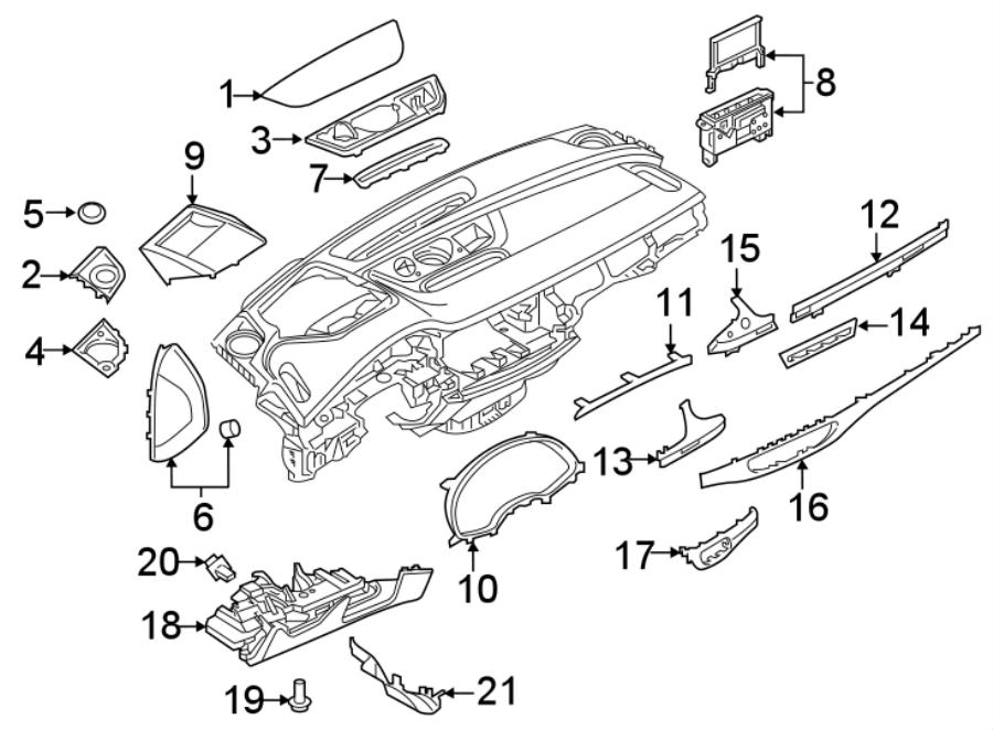 2018 Audi Q7 Instrument Panel Molding. Brushed, Aluminum