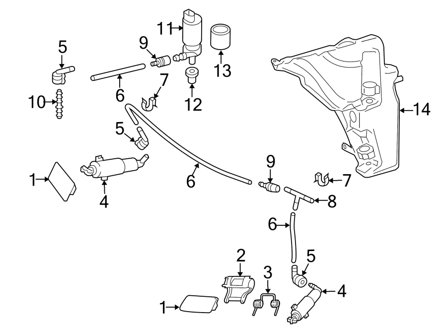 Audi Q5 Headlight Washer Hose Connector. Front, LAMPS