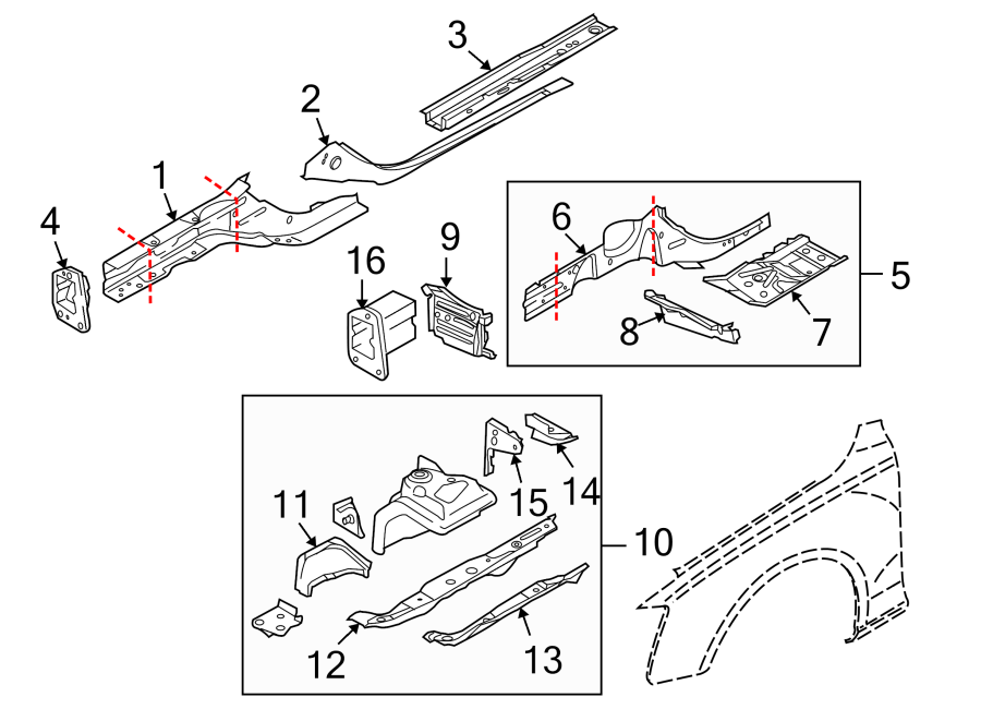 Audi Q5 End. Rail. Section. Front, Bracket, EXTENSION