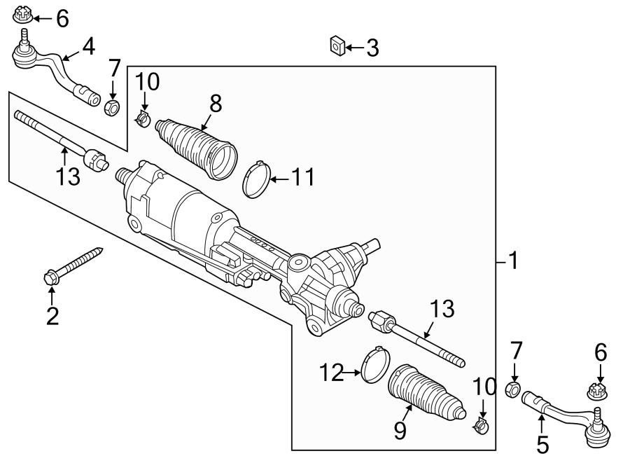 2016 Audi Q5 Rack and Pinion Assembly. Steering, Dynamic