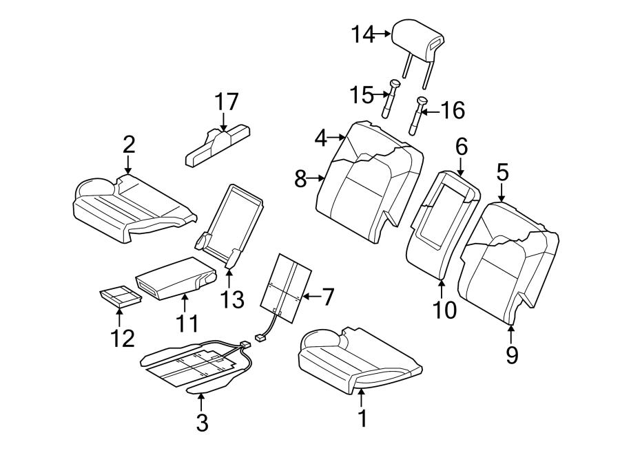 Audi Q5 Headrest. TRIM & COMPONENTS, leather, center 2011