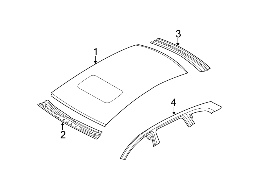 Audi Q5 Roof Header Panel (Rear). SunRoof, COMPONENTS
