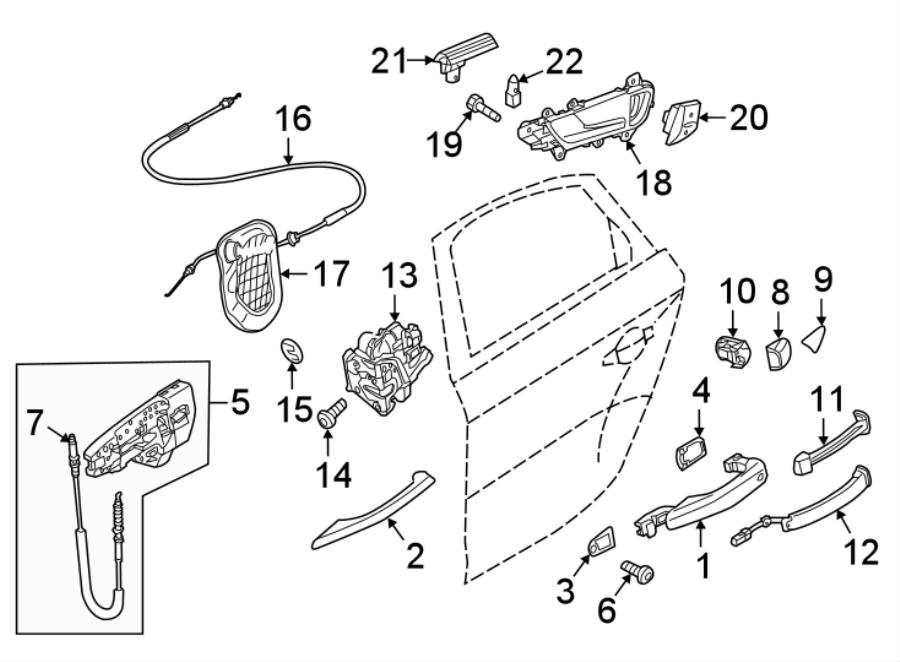 Audi Q5 Door Trim Molding (Rear). 2015-17, chrome. HANDLES