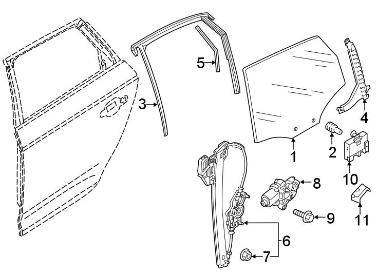2018 Audi Q5 Power Window Motor. Left, Regulator, Pkg