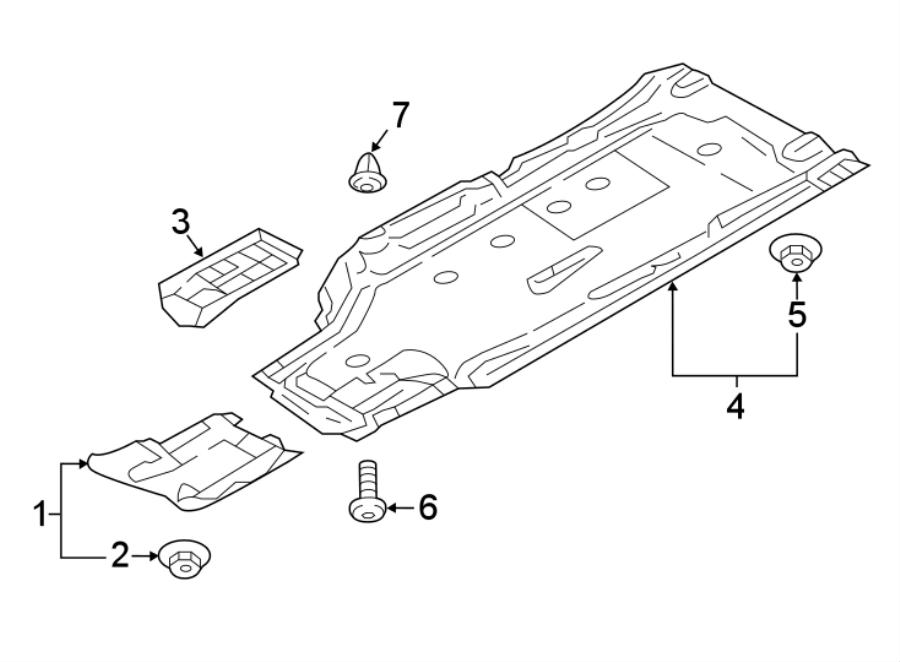 2018 Audi A4 allroad Floor Pan Splash Shield Nut (Rear