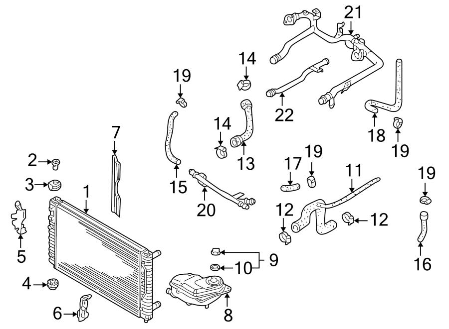 Audi A4 Radiator. Mount. (Upper). LITER, STYLE, Cylinder