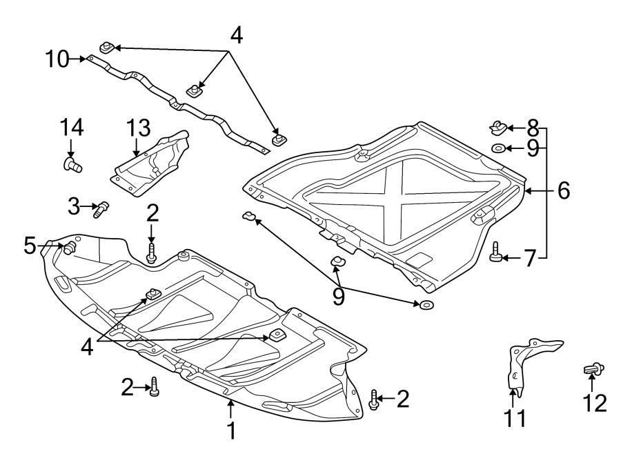 2007 Audi A4 2.0L A/T AWD Radiator Support Splash Shield