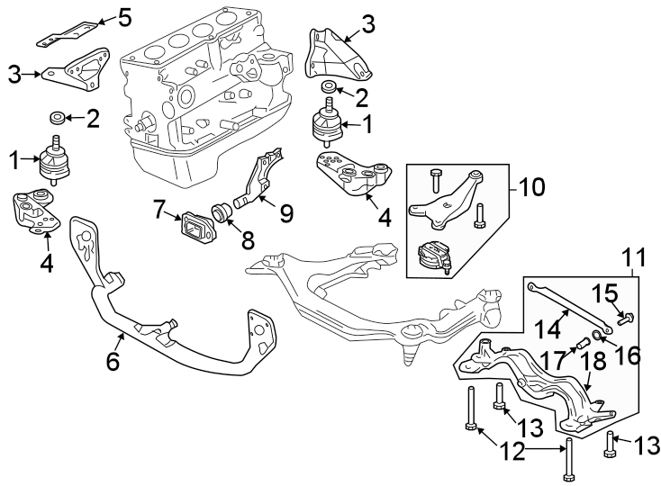 Audi A4 Transmission Crossmember. LITER, Engine, MANUAL