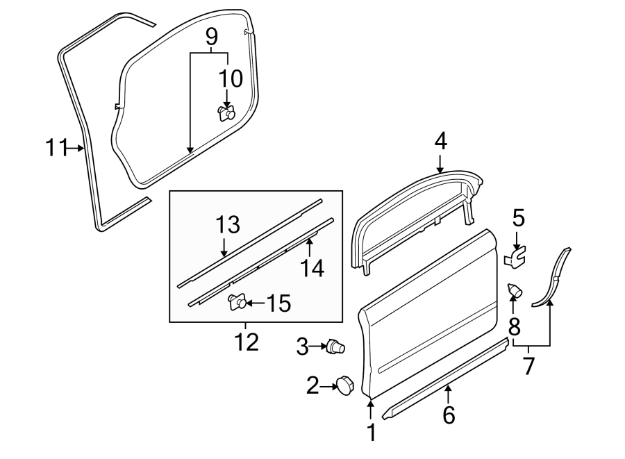 2003 Audi A4 Door Seal (Lower). FRONT, COMPONENTS, Right