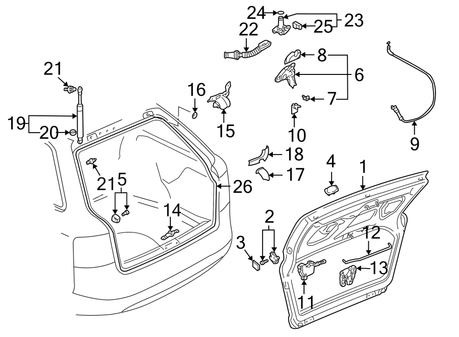 2004 Audi A4 Lock. Latch. (Upper). Key, GATE, LID