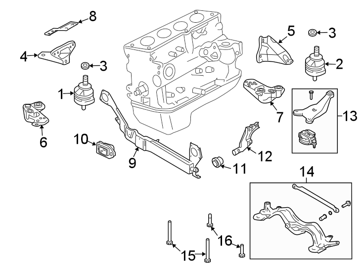 Audi A4 Transmission Crossmember. MANUAL, LITER, ENGINE