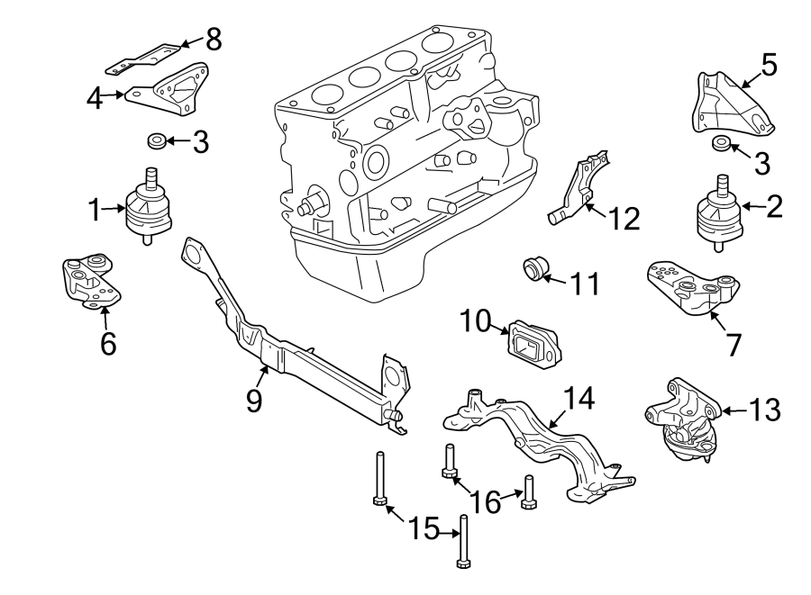 Audi A4 Transmission Crossmember. LITER, Engine, MANUAL