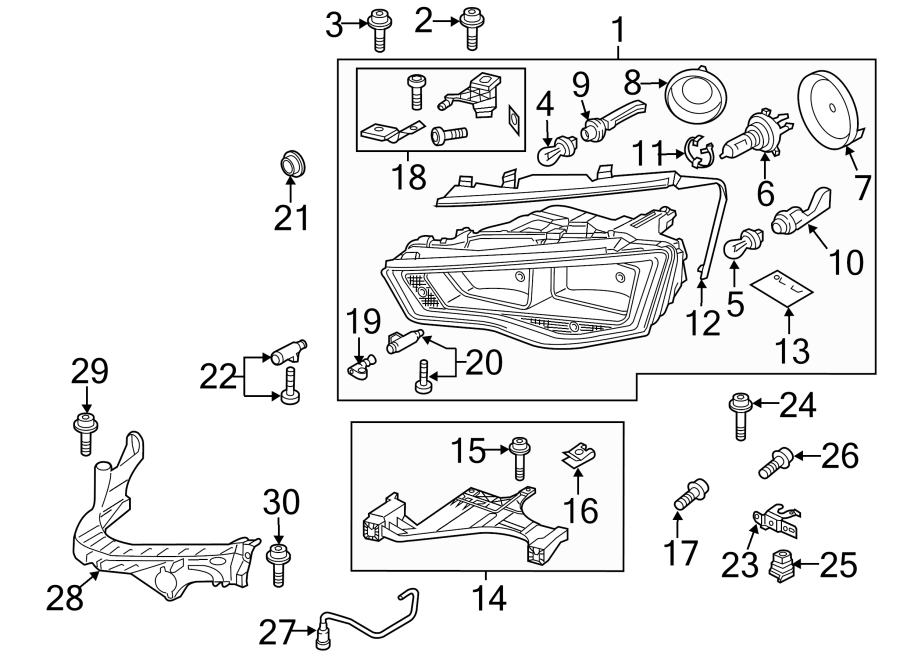 Audi A4 Coupling. Couplpiece. Headlight adjusting screw