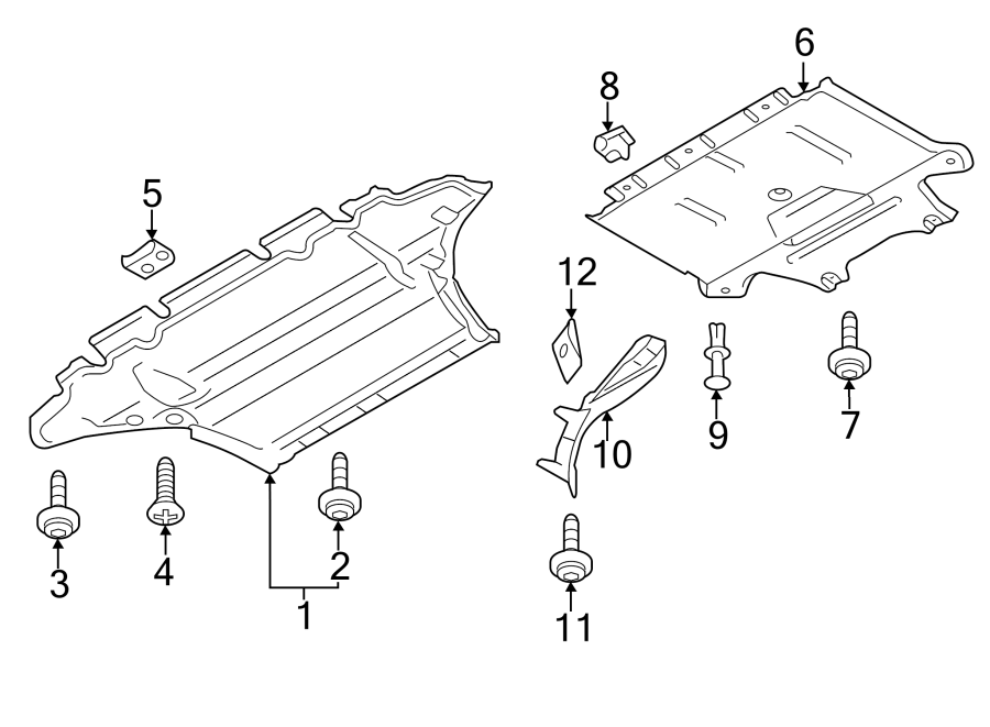 2010 Audi Radiator Support Splash Shield (Front, Rear