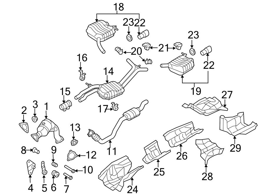 2015 Audi S4 Exhaust Muffler (Front, Rear). 3.0 LITER. S4