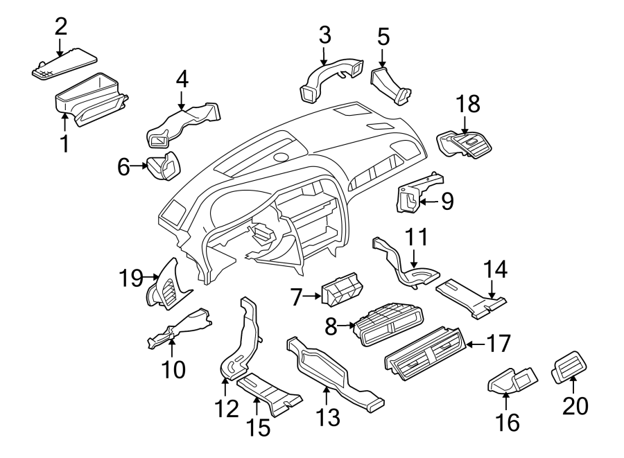 Audi A4 Vent. Air. Grille. Outer. Dashboard, Outlet, Duct