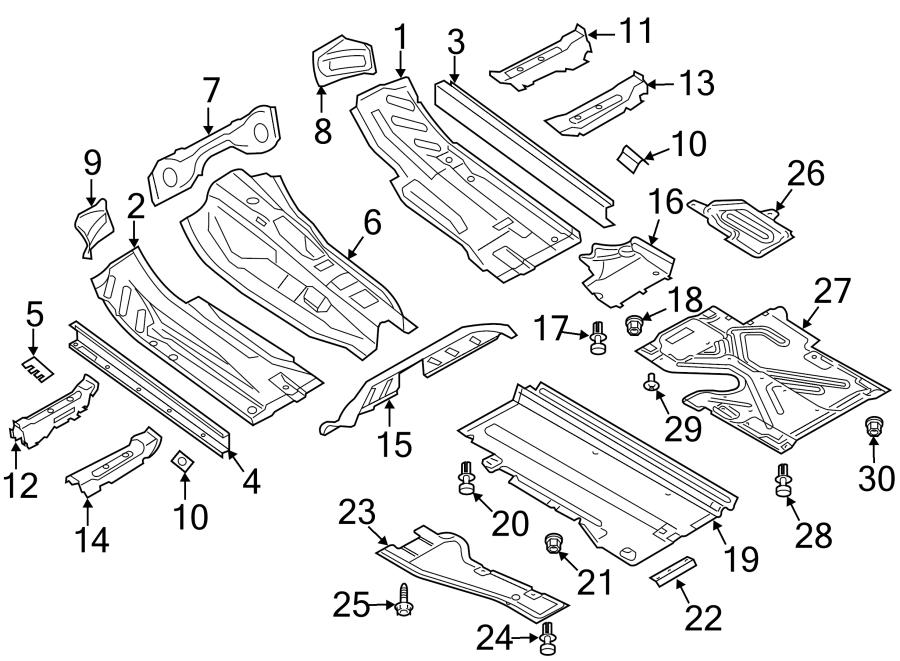Audi A4 Floor Pan Splash Shield (Rear). SEDAN. WAGON
