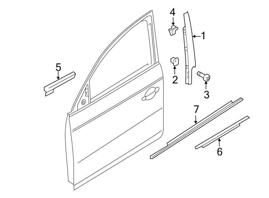 Audi A4 Door Belt Molding. Black, from 10/14. Black, to 9