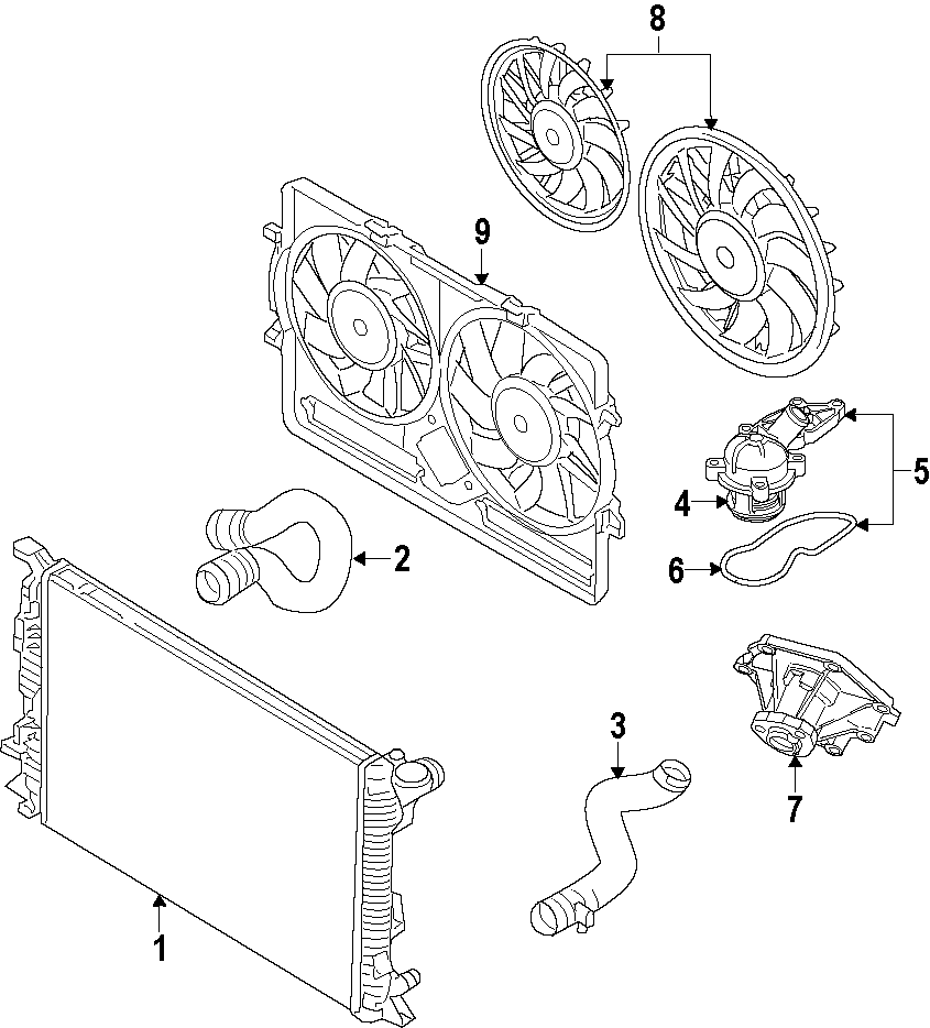 2010 Audi Q5 Engine Coolant Thermostat Kit. THERMOSTAT
