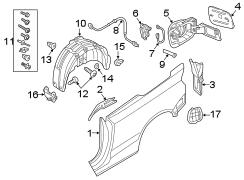 Audi A3 Att. Parts. Fender liner hardware kit. Splash