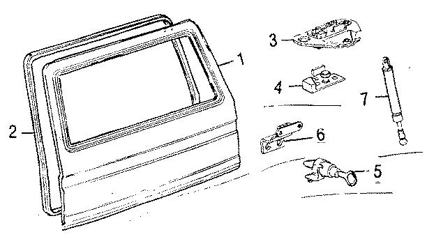 1990 Volkswagen Vanagon Hatch Lift Support. GATE, Make