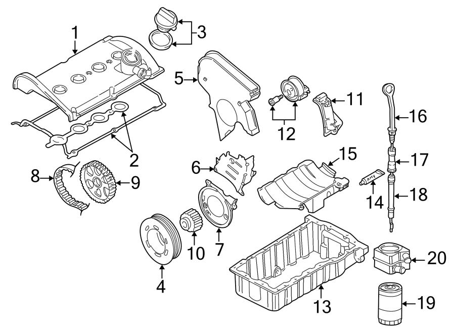 2000 Volkswagen Passat Engine Timing Belt Tensioner. 1.8