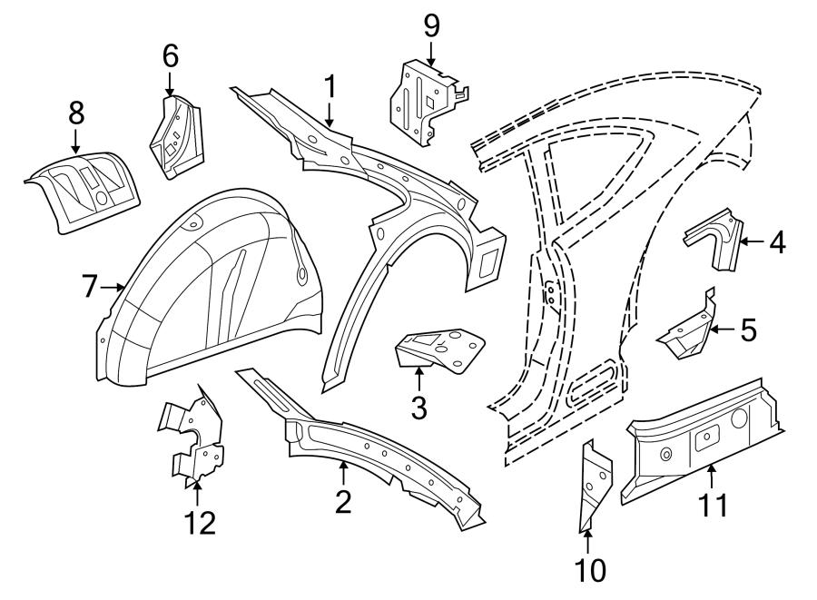 2013 Volkswagen Beetle Quarter Panel Filler Panel (Rear