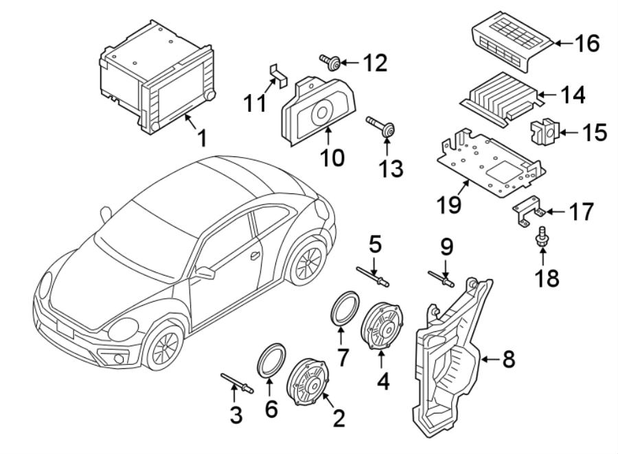 2013 Volkswagen Beetle Convertible Radio Speaker Bracket
