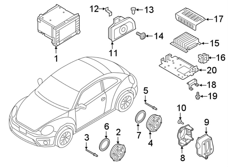 2018 Volkswagen Beetle Convertible Audio Amplifier Nut