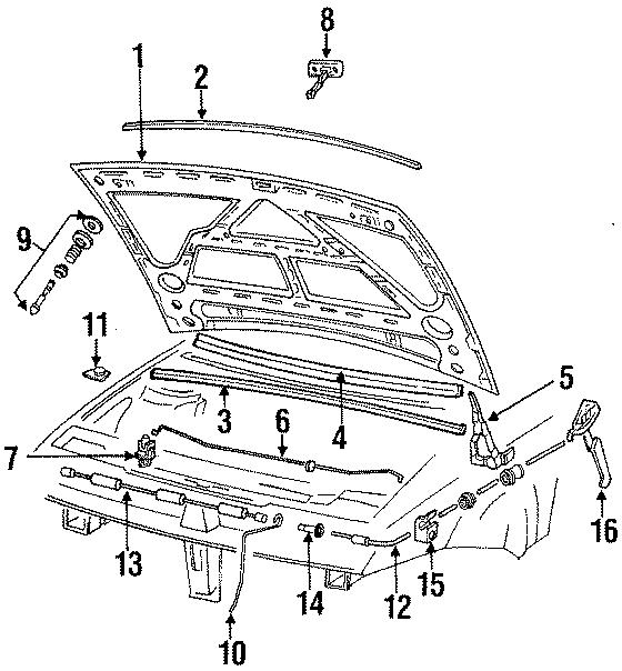 1994 Volkswagen Corrado Hood Prop Rod Clip. Corrado