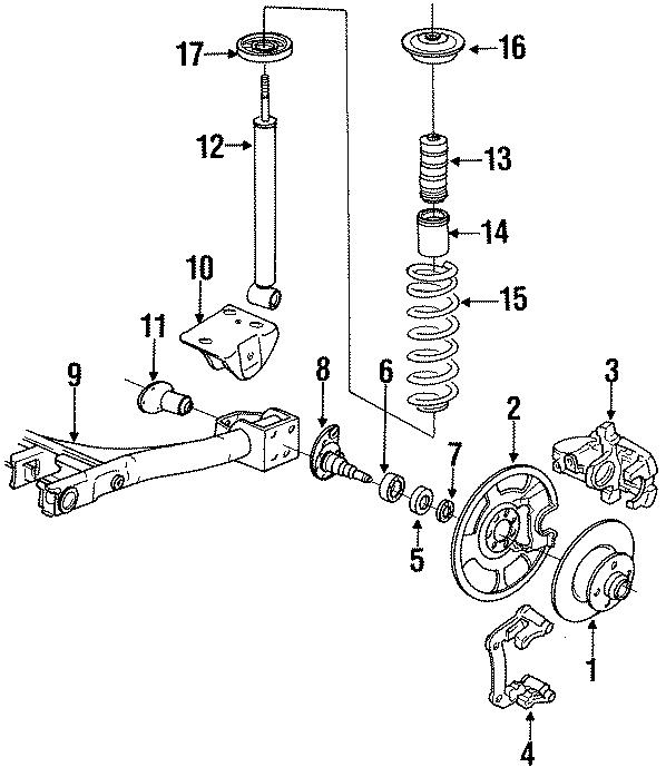 1991 Volkswagen Corrado Stub Axle. ABS, Right, REAR
