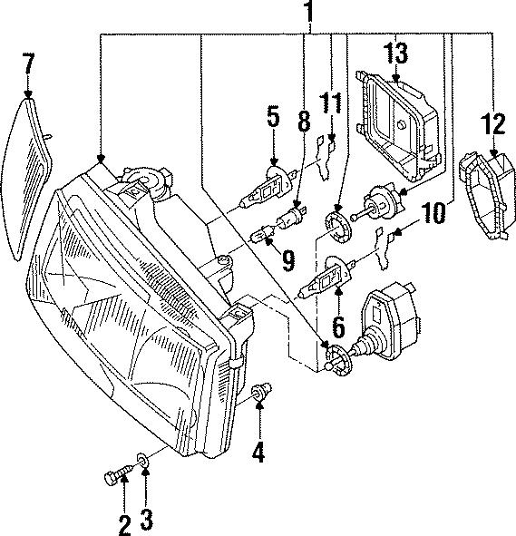 1996 Volkswagen Passat Headlight Assembly cap. 1995-97, W