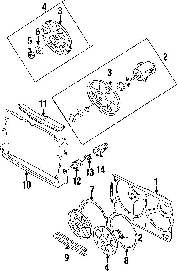 1996 Volkswagen Cabrio Engine Cooling Fan Motor. Cylinder
